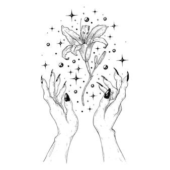 Magia z kwiatem ręcznie robiona ilustracja wektorowa wykonana za pomocą pióra i atramentu