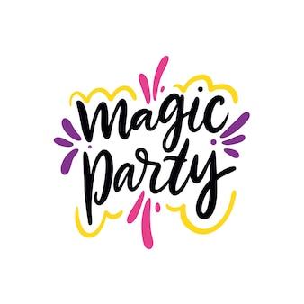 Magic party ręcznie rysowane ilustracji wektorowych i napis