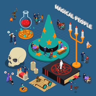 Magical people isometric design