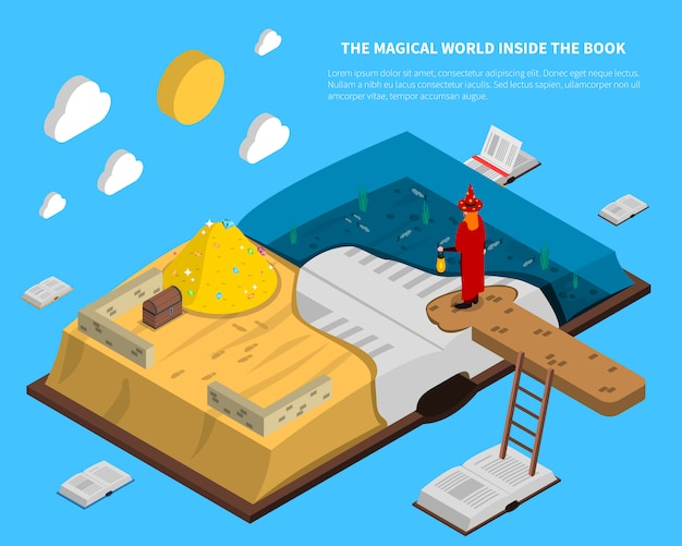 Magical world inside book isometry