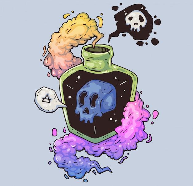 Magiczna butelka z trucizną. mistyczna czaszka w naczyniu. ilustracja kreskówka postać w nowoczesnym stylu graficznym.