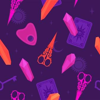 Magiczna czarownica wzór z nożyczkami i kryształami
