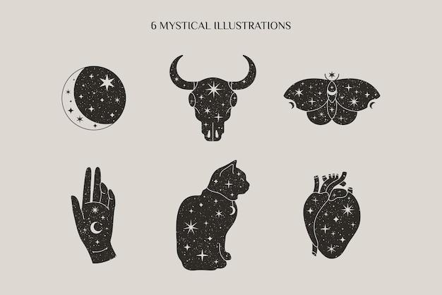Magiczna i mistyczna kolekcja w minimalistycznym stylu z symbolami księżyca, czaszki byka, motyla, dłoni, kota. ilustracje wektorowe