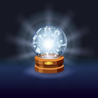Magiczna kryształowa kula szczęście, tajemnica, lśnienie, magia, przepowiednie, kula, efekty świetlne, blask