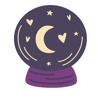 Magiczna kryształowa kula z gwiazdami. przewidując przyszłość. koncepcja halloween. przepowiadanie przyszłości.