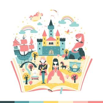 Magiczna książka to bajka. historia księżniczki i księcia. magiczne królestwo. ilustracja vetoonaya w prostym ręcznie rysowane stylu skandynawskim