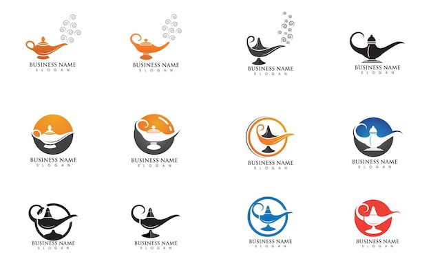 Magiczna lampa logo i symbol grafika wektorowa