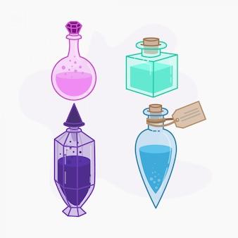 Magiczna mikstura w kolorze różowym, niebieskim, fioletowym i miętowym