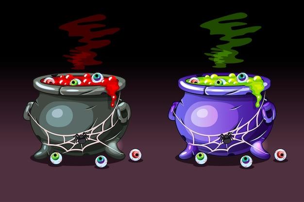 Magiczna mikstura z oczami. wesołego halloween, kociołki czarownic.
