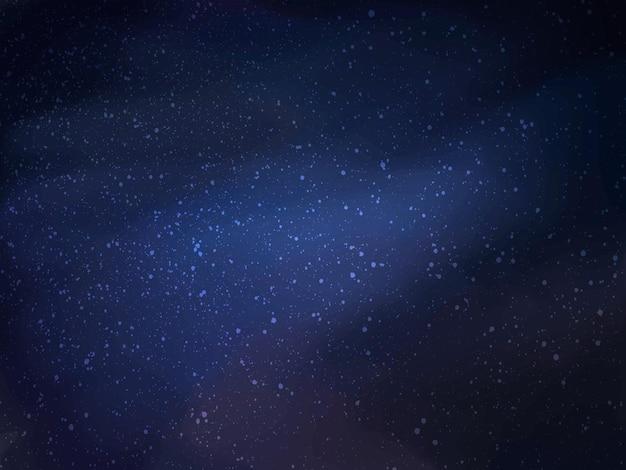Magiczna noc ciemnoniebieskie niebo z błyszczącymi gwiazdami srebrnego rozproszonego wektora pyłu
