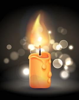 Magiczna płonąca świeca o realistycznym designie płomienia