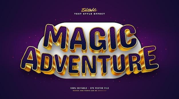 Magiczna przygoda tekst w kolorze fioletowym i złotym w stylu gry 3d. edytowalny efekt stylu tekstu
