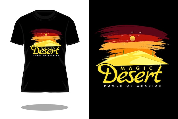 Magiczna pustynia retro vintage t shirt design