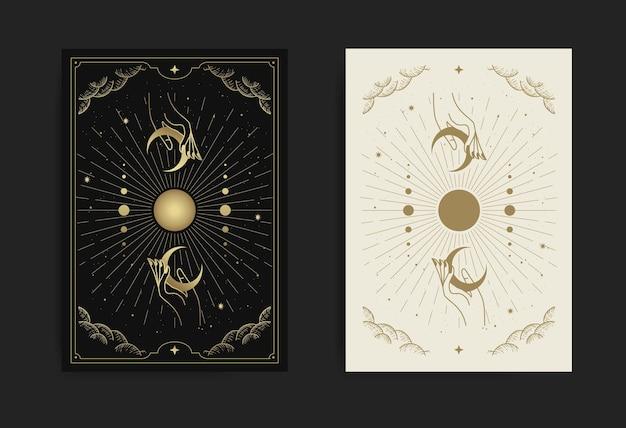 Magiczna ręka i półksiężyc karta z grawerunkiem, luksusem, ezoterycznymi, boho, duchowymi, geometrycznymi, astrologicznymi, magicznymi motywami, na kartę czytnika tarota.