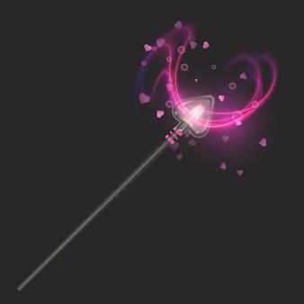 Magiczna różdżka.piękne efekty świetlne z magiczną, błyszczącą, błyszczącą teksturą