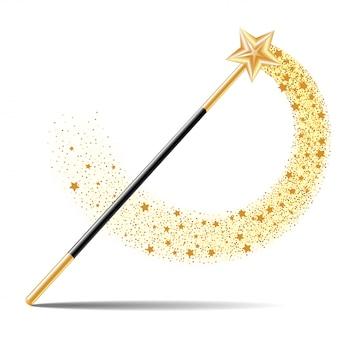 Magiczna różdżka ze złotą gwiazdą z magicznym złotym śladem na białym tle