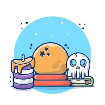 Magiczna szklana kula ze świecą, książką i ilustracją czaszki. koncepcja halloween crystal ball. płaski styl kreskówki