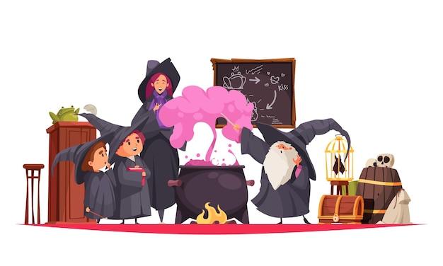 Magiczna szkolna kompozycja ze stylowymi postaciami uczniów i nauczycieli wykonujących eksperymenty alchemiczne w klasie