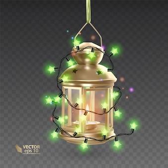 Magiczna, złota lampa otoczona świecącymi girlandami, realistyczna lampa na przezroczystym tle, ilustracja