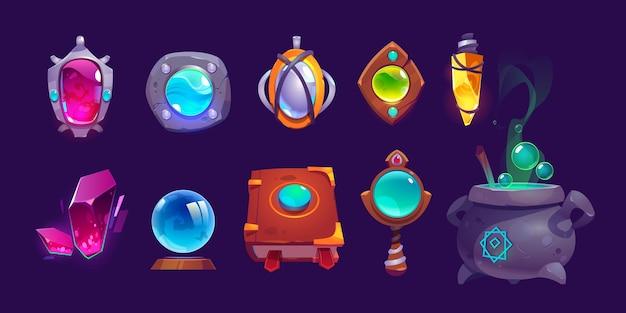 Magiczne amulety, kryształ, księga zaklęć i kociołek z wrzącą miksturą. zestaw ikon kreskówka, elementy gui do gry o czary lub kreatora na białym tle