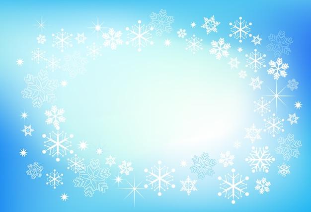 Magiczne boże narodzenie niebieskie tło wiele płatków śniegu - szablon karty z pozdrowieniami, baner lub plakat