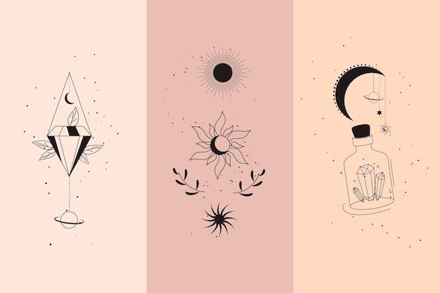 Magiczne diamenty i ręce kobiety z półksiężycem w zestaw ilustracji liniowych w stylu boho