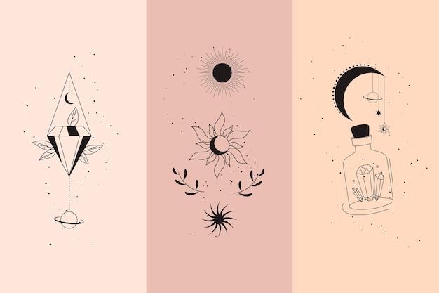 Magiczne diamenty i ręce kobiety z półksiężycem w zestaw ilustracji wektorowych w stylu boho liniowym. proste czeskie emblematy w złotych liniach z rękami dla mitycznego projektu i ezoterycznej koncepcji.