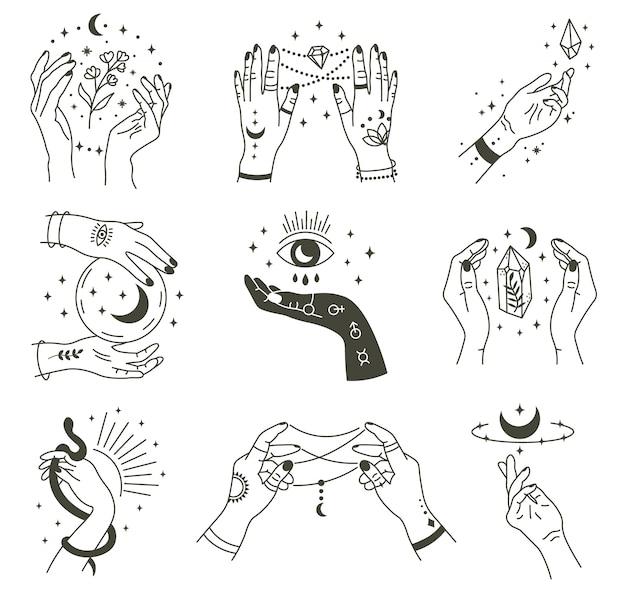 Magiczne dłonie. boho okultystyczna magiczna ręka, mistyczny symbol czarownicy, ręcznie rysowane ramiona czarów z zestawem ikon ilustracji księżyca i kryształu. magiczne duchowe czary, mistyczne ezoteryczne