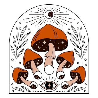 Magiczne grzyby i fazy księżyca dla ezoterycznych projektów tematycznych kolor ilustracji wektorowych