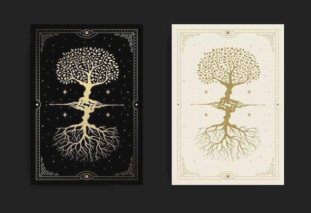 Magiczne i mistyczne święte drzewo odbite lub lustrzane na rozgwieżdżonym nocnym niebie
