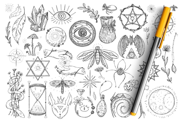 Magiczne i okultystyczne symbole doodle zestaw. kolekcja ręcznie rysowane duchowe oczy, węże, kryształy, owady i magiczne symbole okultyzmu na białym tle