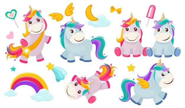 Magiczne jednorożce. małe bajkowe zwierzątka kucyk z różowymi postaciami z tęczami dla dziewczynek. ilustracja koń jednorożca, magiczny kucyk, bajkowa tęcza