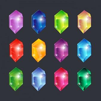 Magiczne klejnoty. kamienie szlachetne klejnoty diamenty kamień szlachetny szmaragd rubinowy szafir spojrzenie przezroczyste szkło genialny zestaw ikon na białym tle kreskówek