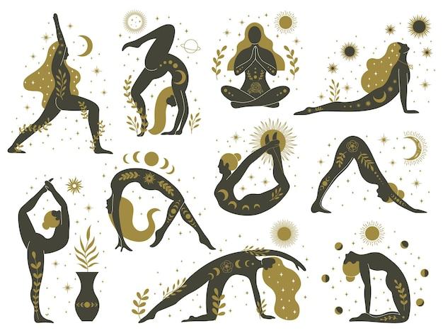 Magiczne kobiety jogi. mistyczne ezoteryczne sylwetki kobiet, minimalistyczny zestaw medytujących dziewcząt