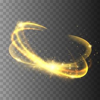 Magiczne koło na przezroczystym tle. połysk okrągły efekt świetlny.