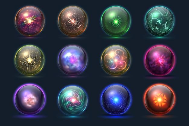 Magiczne kryształowe kule. świecące magiczne kule, tajemnicze zjawiska paranormalne czarodzieja. wektor zestaw