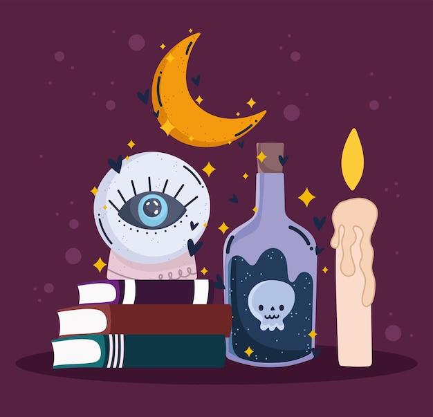Magiczne książki z kryształowej kuli i świeca