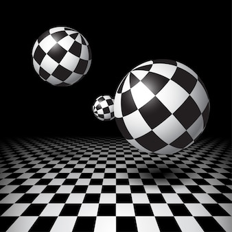 Magiczne kule nad podłogą w szachownicę