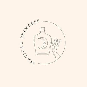 Magiczne logo butelki, księżyca i dłoni