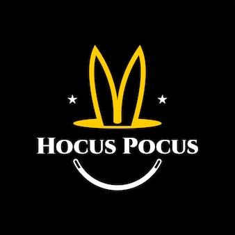 Magiczne logo zabawne uszy królika w otworze