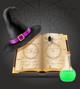 Magiczne obiekty do czarownic ilustracja czarownica na białym tle na czarnym tle