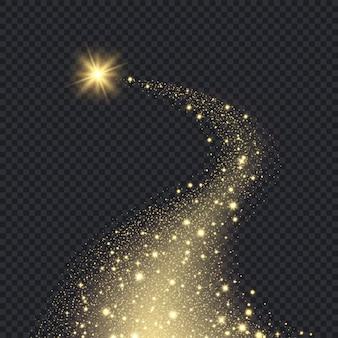 Magiczne realistyczne gwiazdy. świecący kształt od iskier spiralny ruch graficzny bokeh brokat spadające złote gwiazdy tło