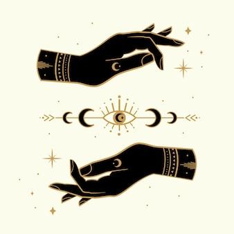 Magiczne ręce z ezoterycznymi symbolami i gwiazdami