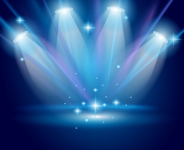 Magiczne reflektory z niebieskimi promieniami i efektem świecącym