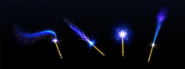 Magiczne różdżki z niebieską gwiazdą i świecącymi, błyszczącymi śladami