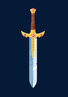 Magiczne, rysunkowe ostrze miecza rycerza, wektorowe ramiona z zimnej stali ozdobione drogocennymi klejnotami i złotą rękojeść owiniętą skórzaną koronką. element projektu interfejsu użytkownika do gry komputerowej na niebieskim tle