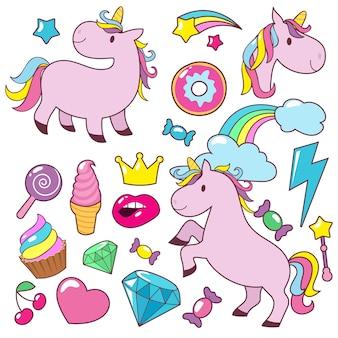 Magiczne słodkie konie jednorożce wektor zbiory znaków
