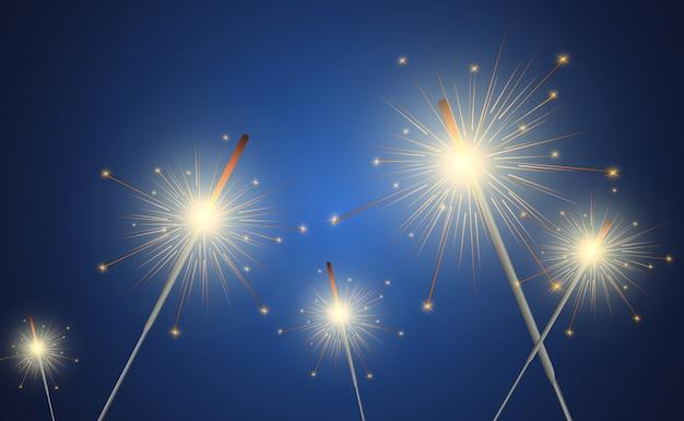Magiczne światło. brylant. świeca musująca na tle. realistyczny efekt świetlny.