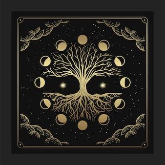 Magiczne święte drzewo życia z dekoracją faz księżyca w luksusowym, ręcznie rysowanym stylu