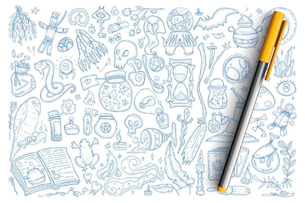 Magiczne symbole czarów doodle zestaw. kolekcja ręcznie rysowane żaby, trucizny, wąż, lalka voodoo, czaszka i inne narzędzia do czarów na białym tle.